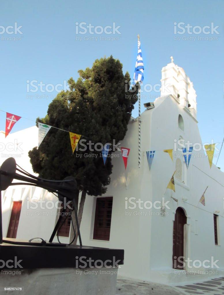 Greek Orthodox Christmas in Mykonos Town stock photo