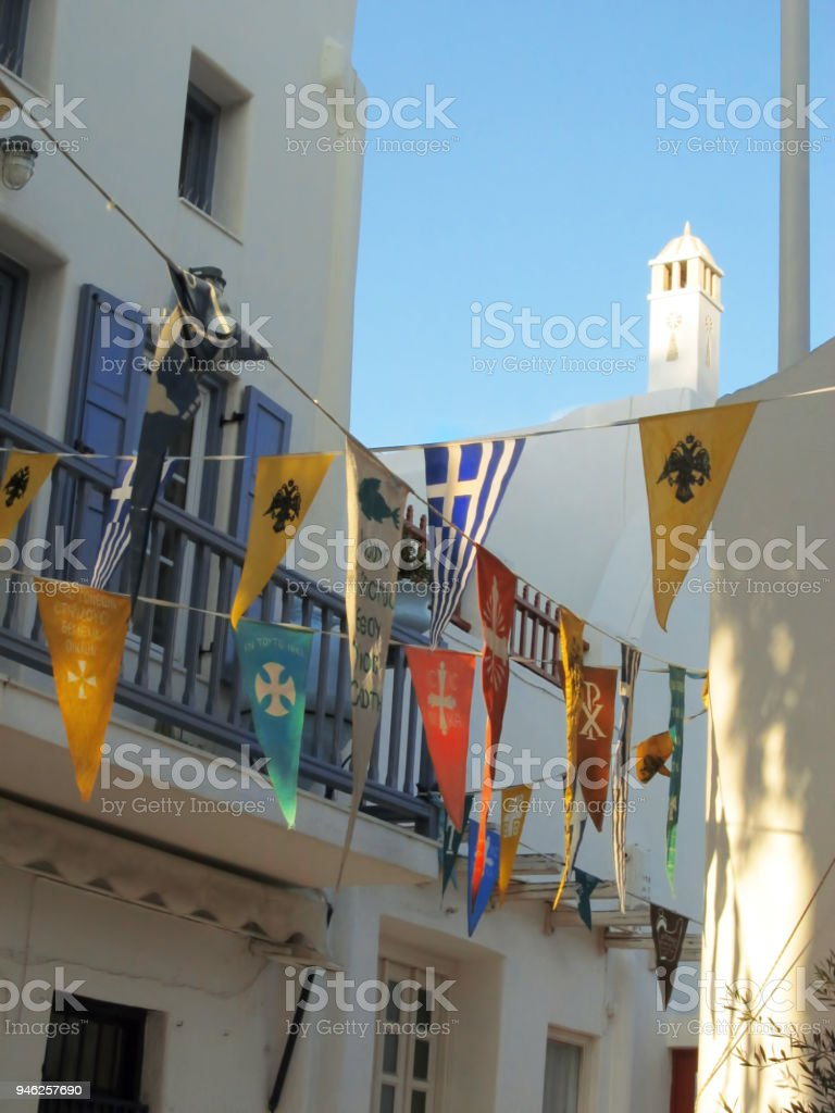 greek orthodox christmas in mykonos town royalty free stock photo