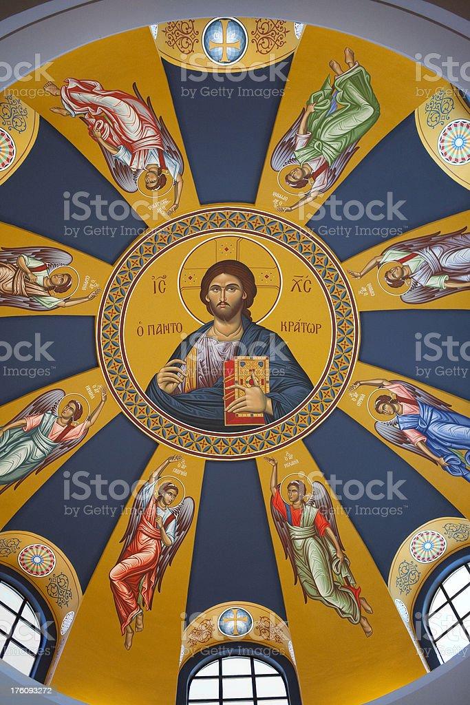 Greek orthodox church ceiling - vertical stock photo