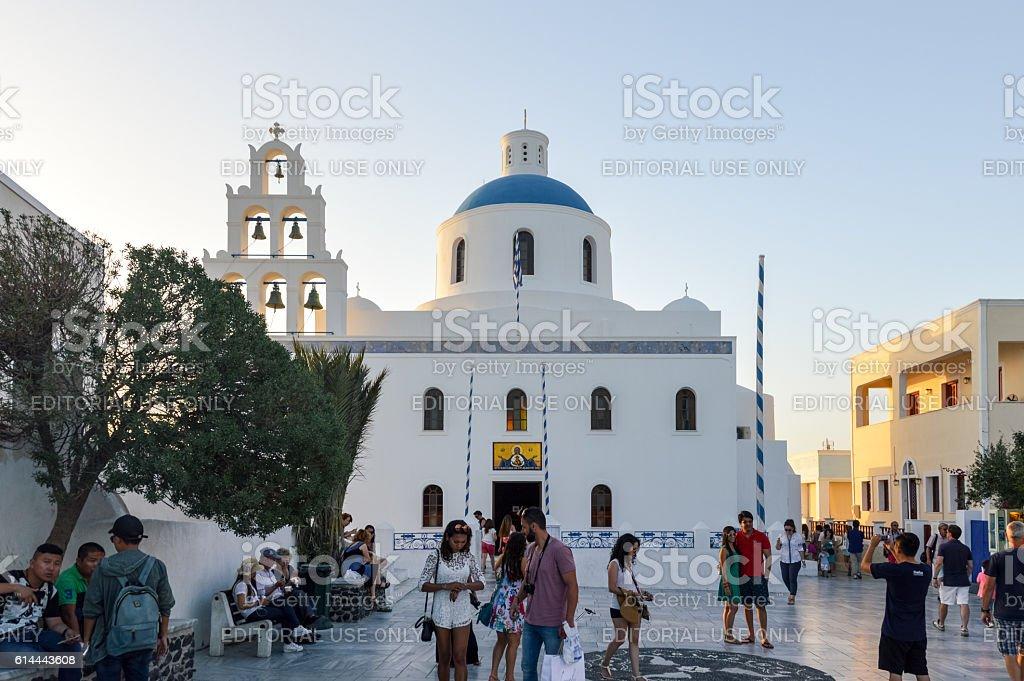 Greek Orthodox church during sunset in Santorini, Greece stock photo