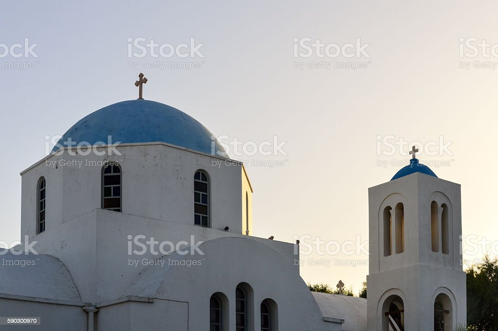Greek Orthodox church during sunset on the Greek Isles royaltyfri bildbanksbilder