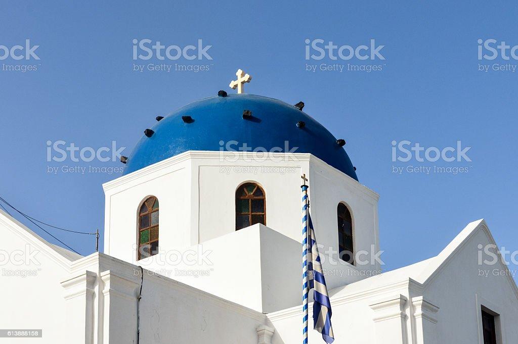 Greek Orthodox church in Santorini, Greece stock photo