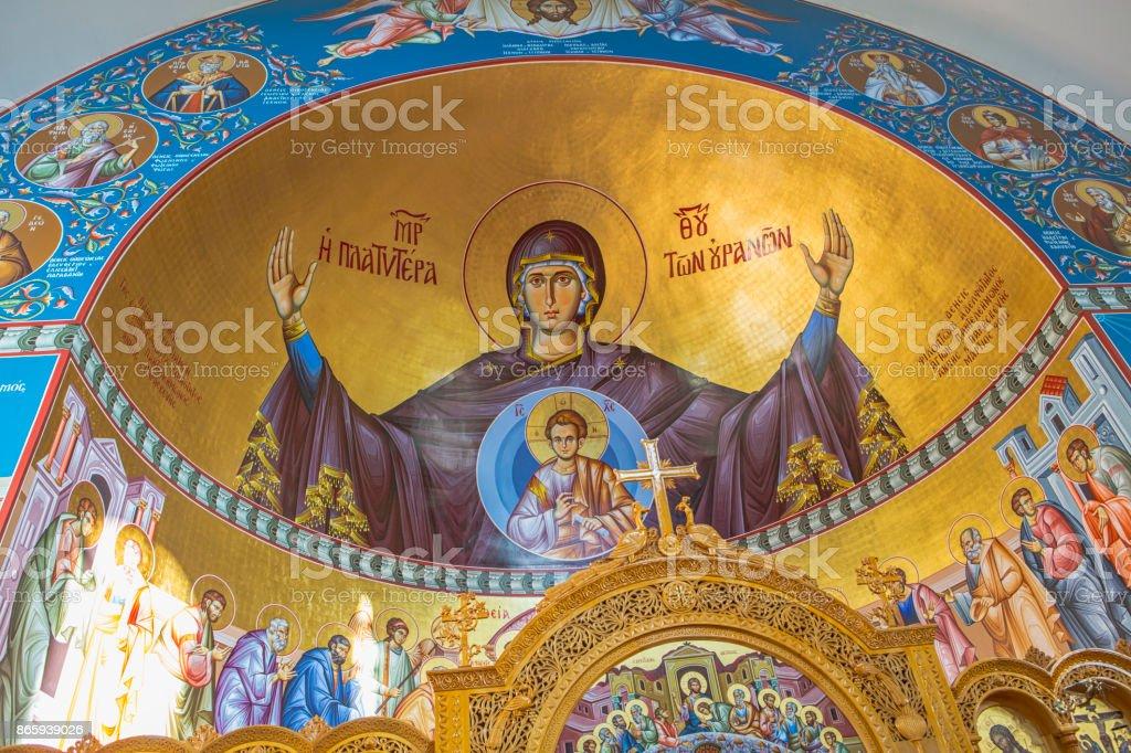 Greek Orthodox Church Interior stock photo