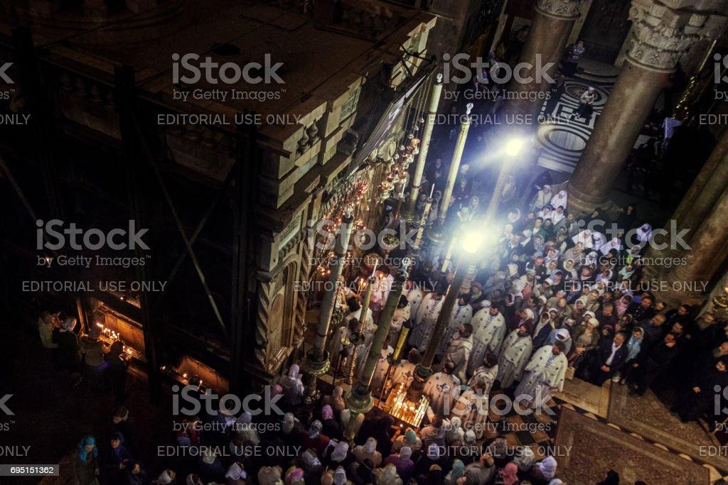 Greek Orthodox Mass in Holy Sepulchre stock photo