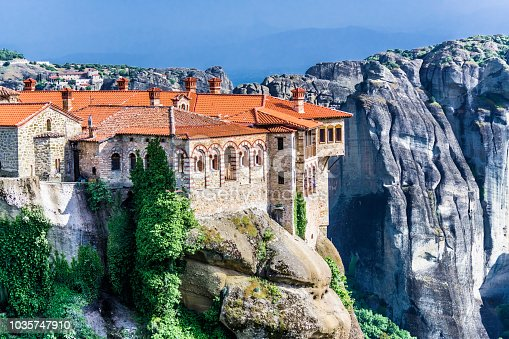The walls of the Orthodox Greek monastery, built on the cliff of a high rock In the Greek Meteors.