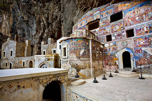 Greek Orthodox Sumela Monastery Turkey. Region Macka of Trabzon city - the Sumela Monastery (1600 year old Greek Orthodox monastery of the Panaghia). Rock Church - the inner and outer walls are decorated with frescoes monastery stock pictures, royalty-free photos & images