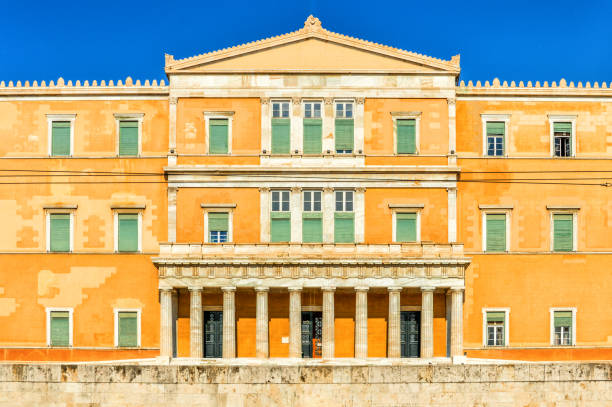Greek parliament building in Athens stock photo