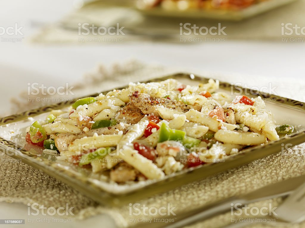Greek Pasta Salad with Grilled Chicken stock photo