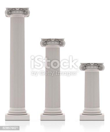 istock Greek Pillars three Size, Isolated on White Background 528529021
