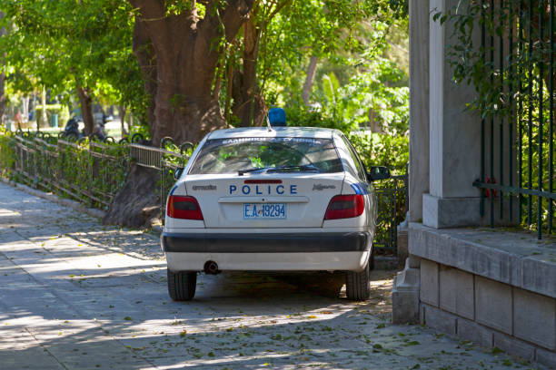 Greek police car stock photo