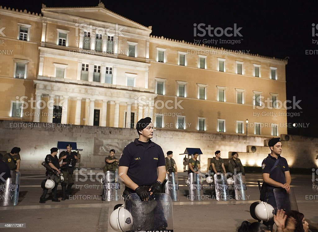 Greek police guarding the parliament stock photo