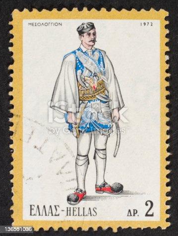 istock Greek postage stamp-1972 136551036