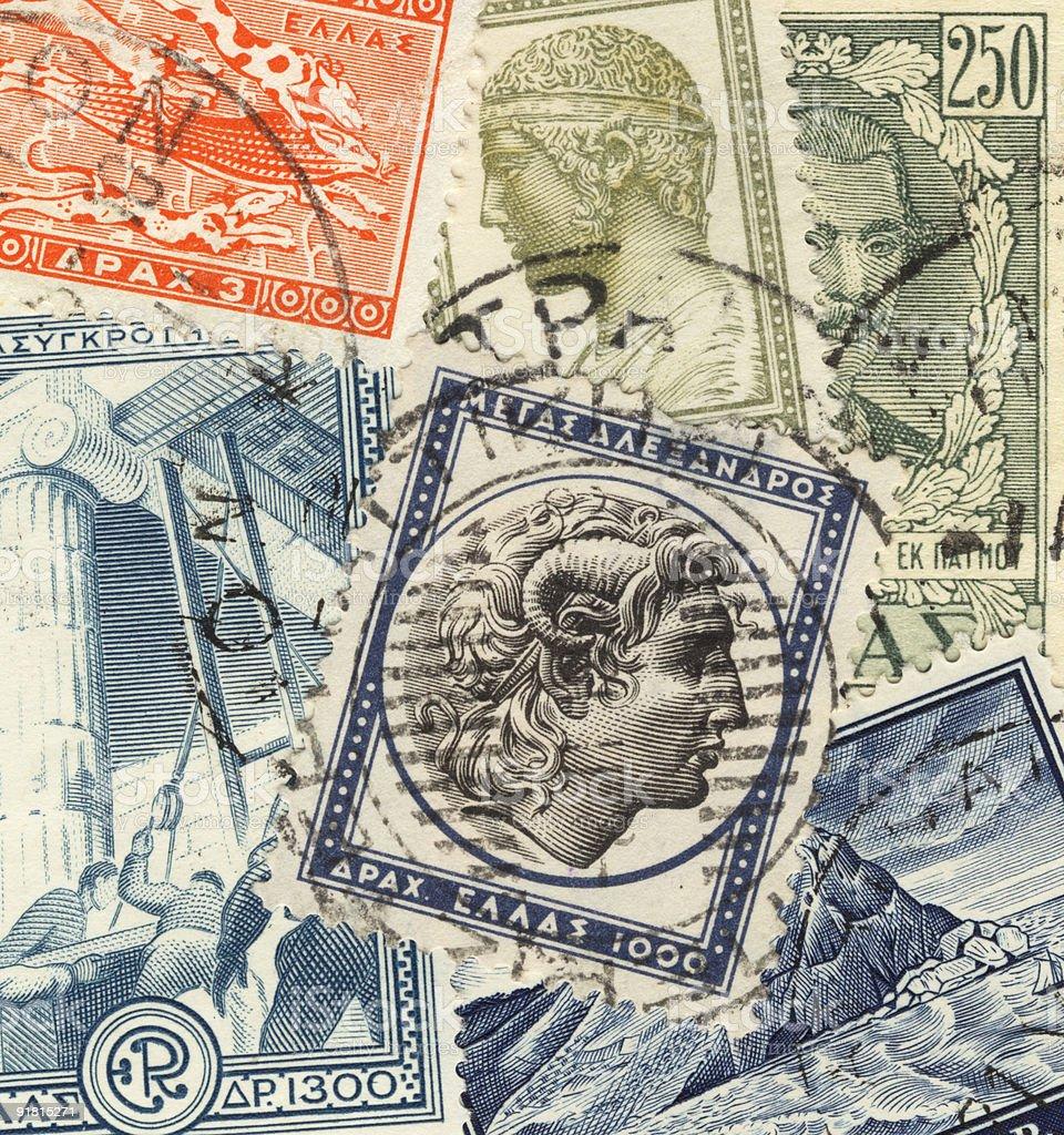 greek postage stamps stock photo
