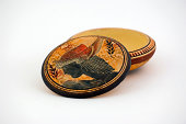 vector greek black and orange antique seamless pattern