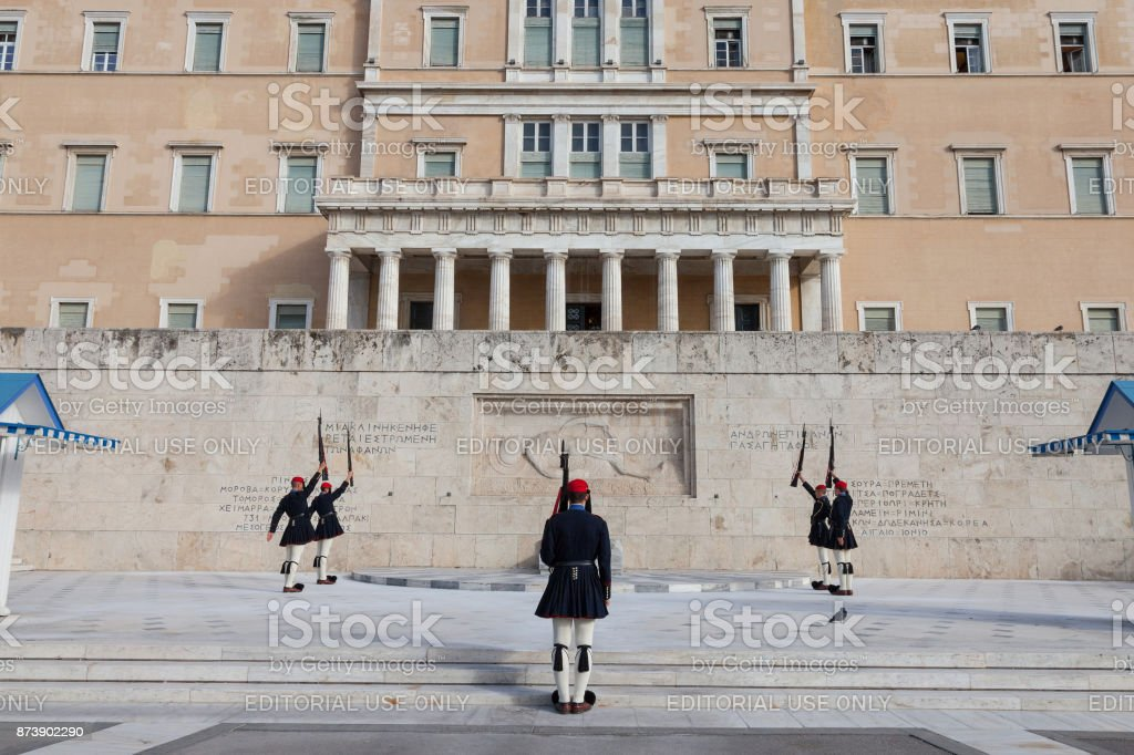 Greek presidential guard, Evzones, parading in front of the Greek parliament on Syntagma square. The Evzoni are one of the symbols of Greece and of the Greek army stock photo
