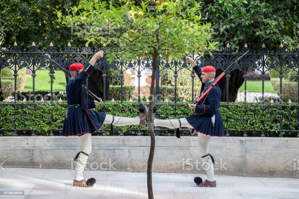 ATHENS, GREECE - NOVEMBER 3, 2017: Greek presidential guard, Evzones, parading in front of the Greek Presidential Palace. The Evzoni are one of the symbols of Greece and of the Greek army stock photo