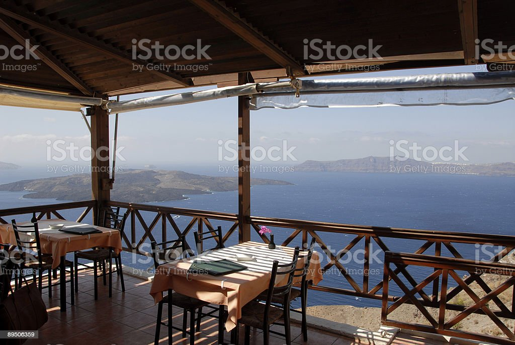 Greek Restaurant in Santorini royalty-free stock photo