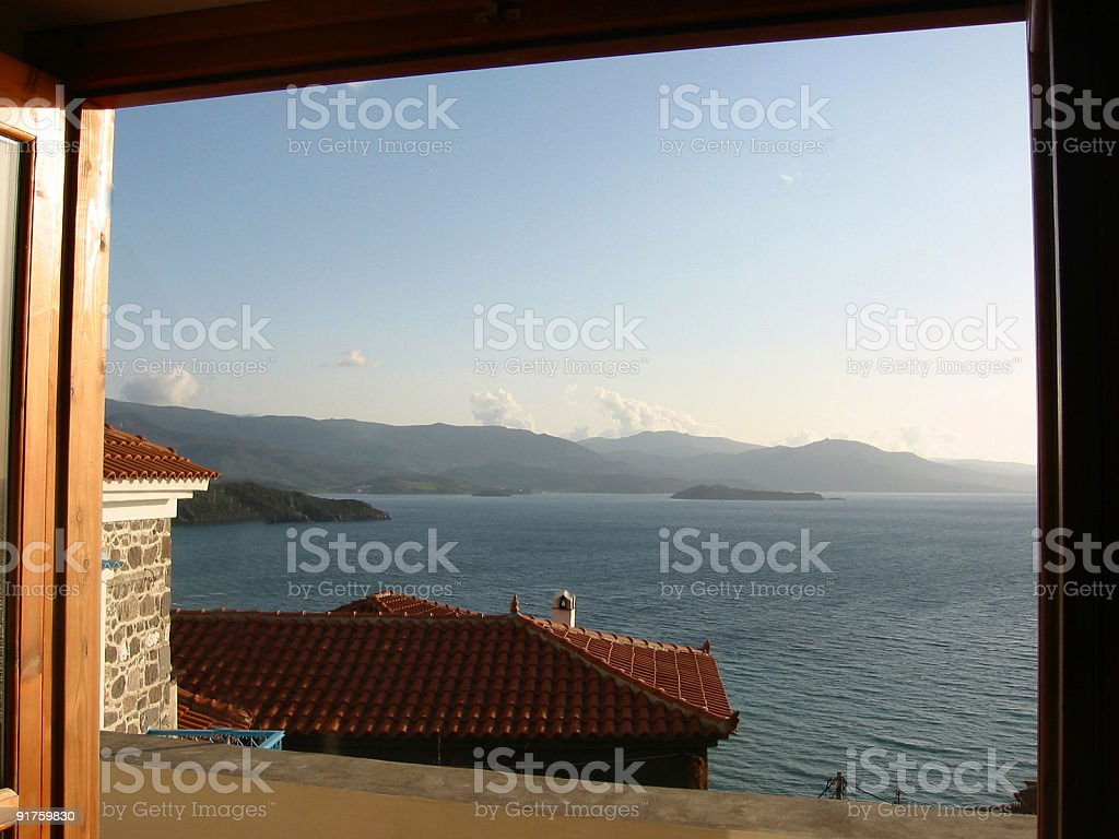 Greek Room With A View royalty-free stock photo