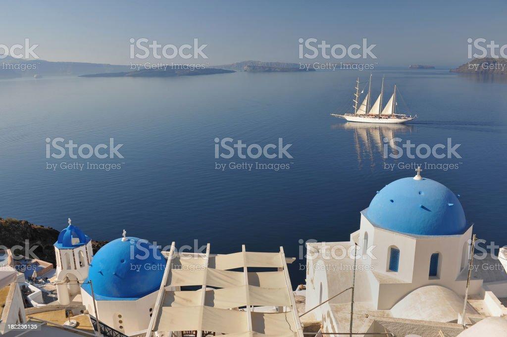 Greek Sails at dawn royalty-free stock photo