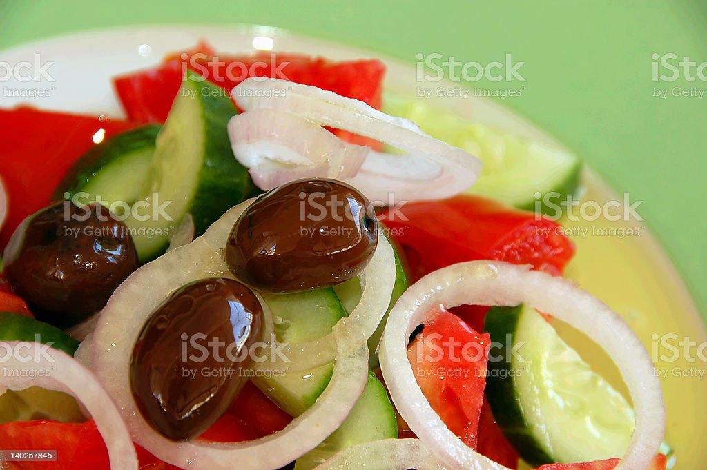 greek salad closeup stock photo
