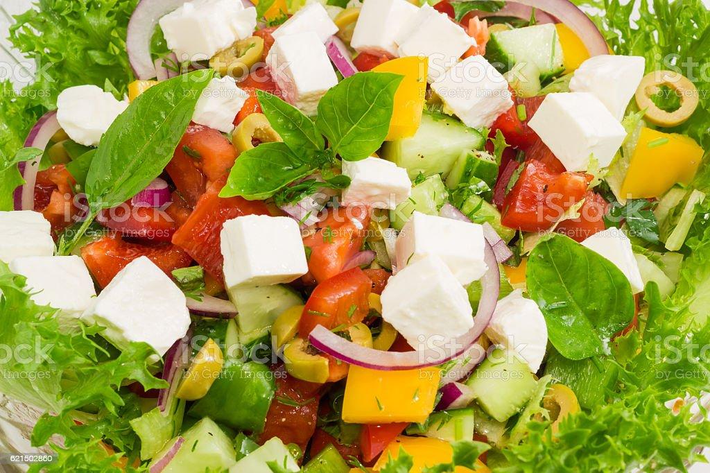 Griechischer Salat, Nahaufnahme Lizenzfreies stock-foto