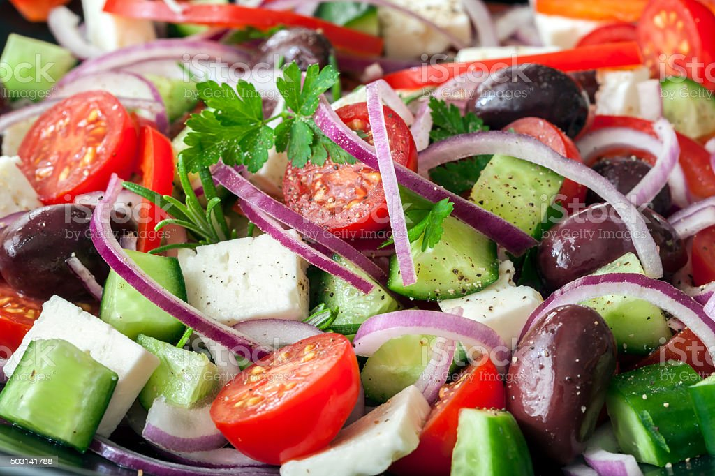 Greek Salad Full Frame stock photo