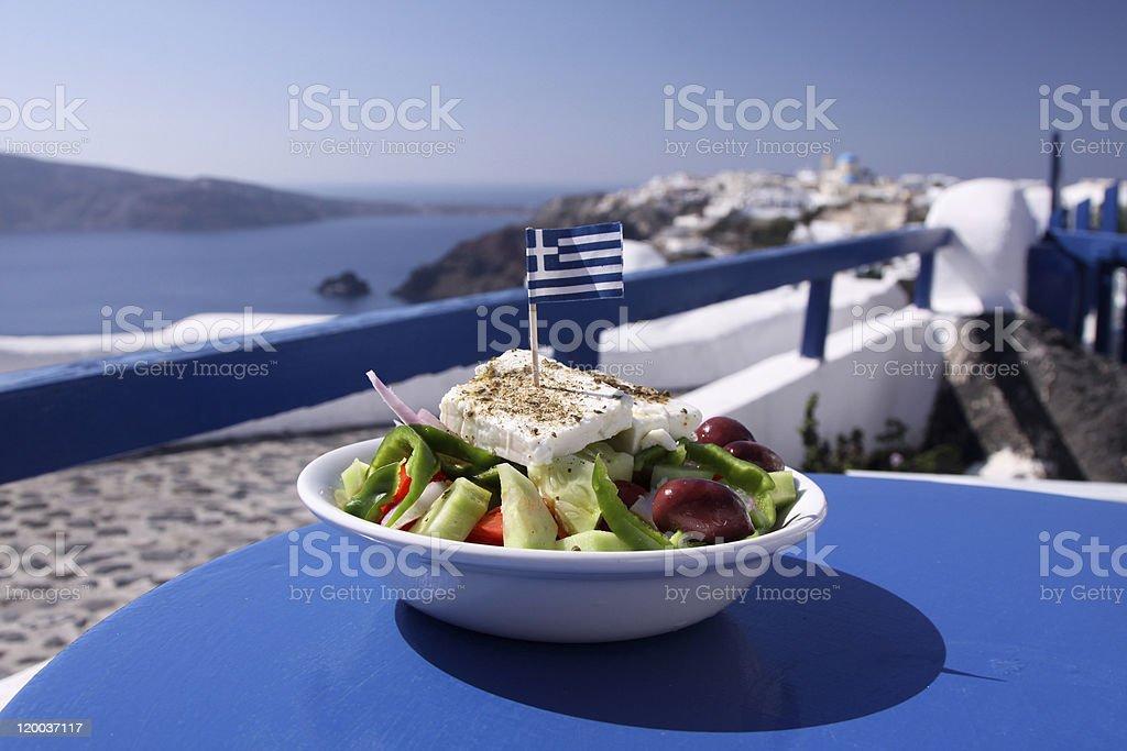Greek salad in Oia on Santorini, Greece stock photo
