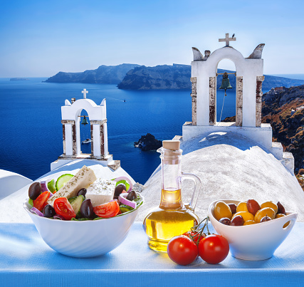 Greek Salad In Santorini Island Greece Stock Photo - Download Image Now