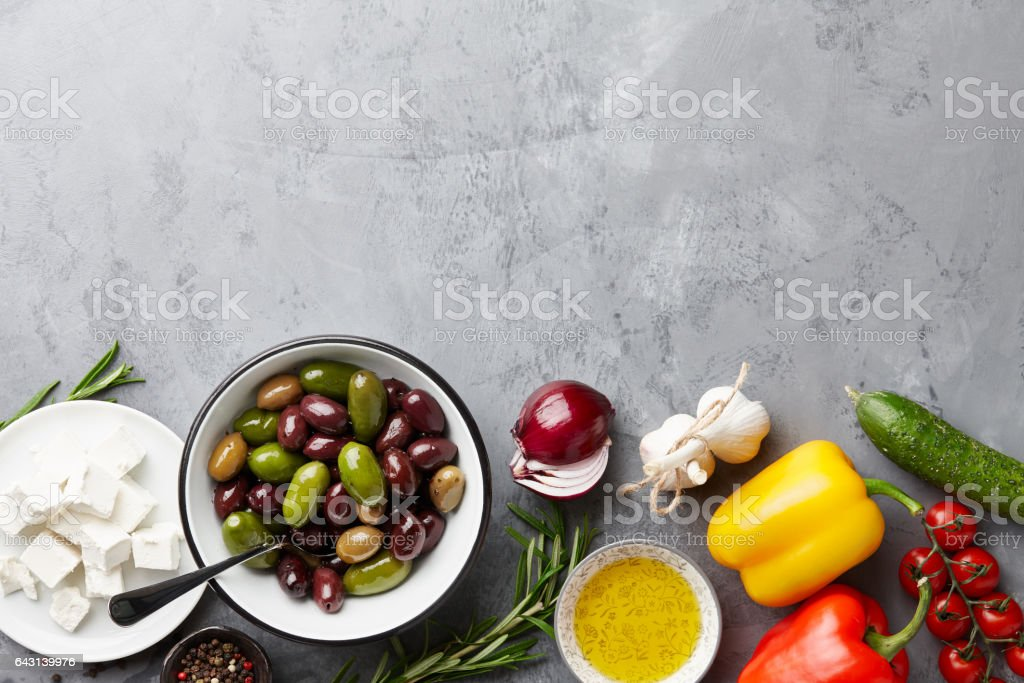 Greek salad main ingredients stock photo
