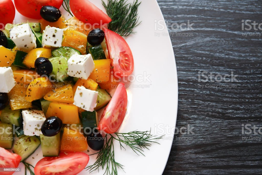Greek Salad On Plate royalty-free stock photo