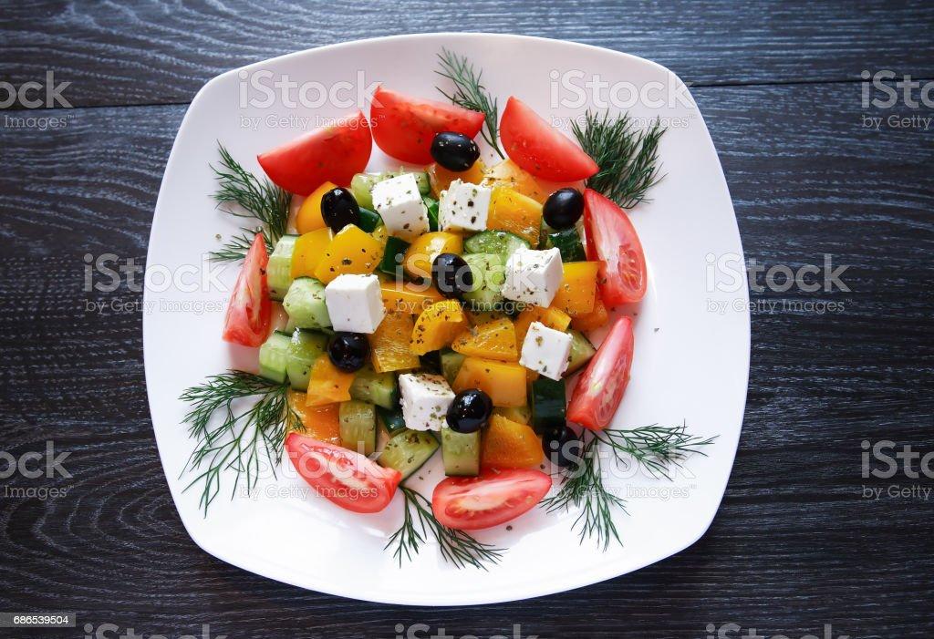 Greek Salad On Plate royaltyfri bildbanksbilder