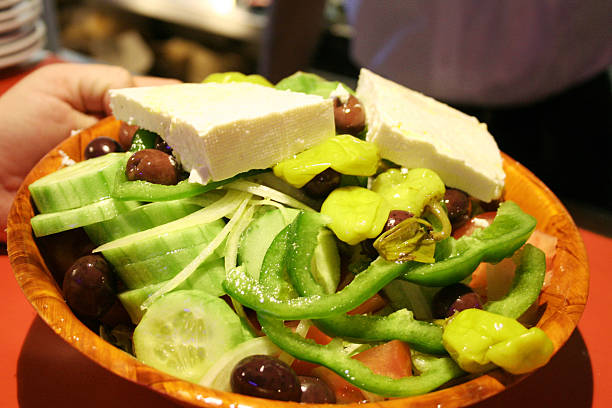 greek salad - russelltatedotcom stock pictures, royalty-free photos & images