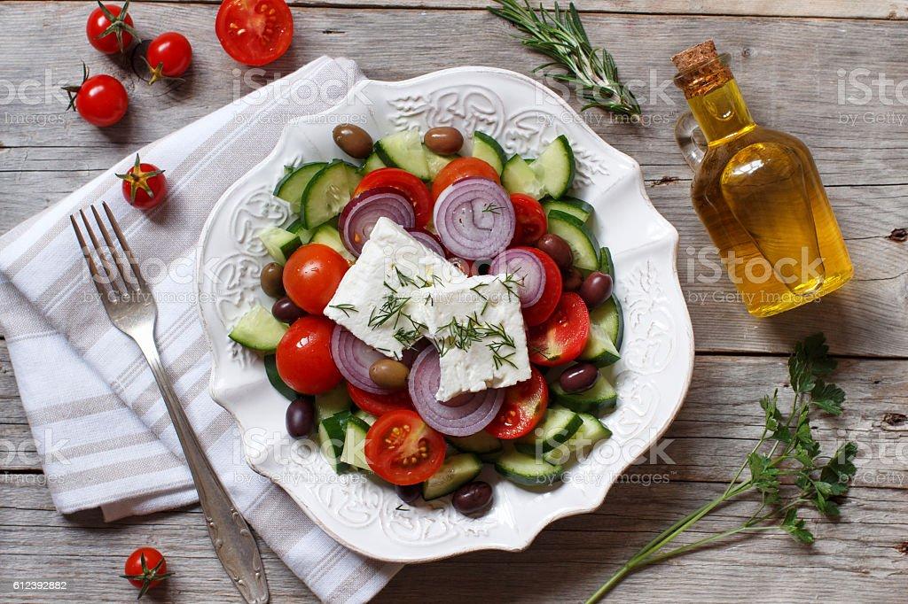 Greek salad top view stock photo