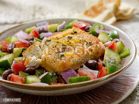 Greek Salad with Breaded, Pan Fried Feta Cheese (Saganaki)