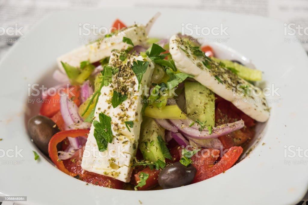 Greek salad with feta cheese stock photo
