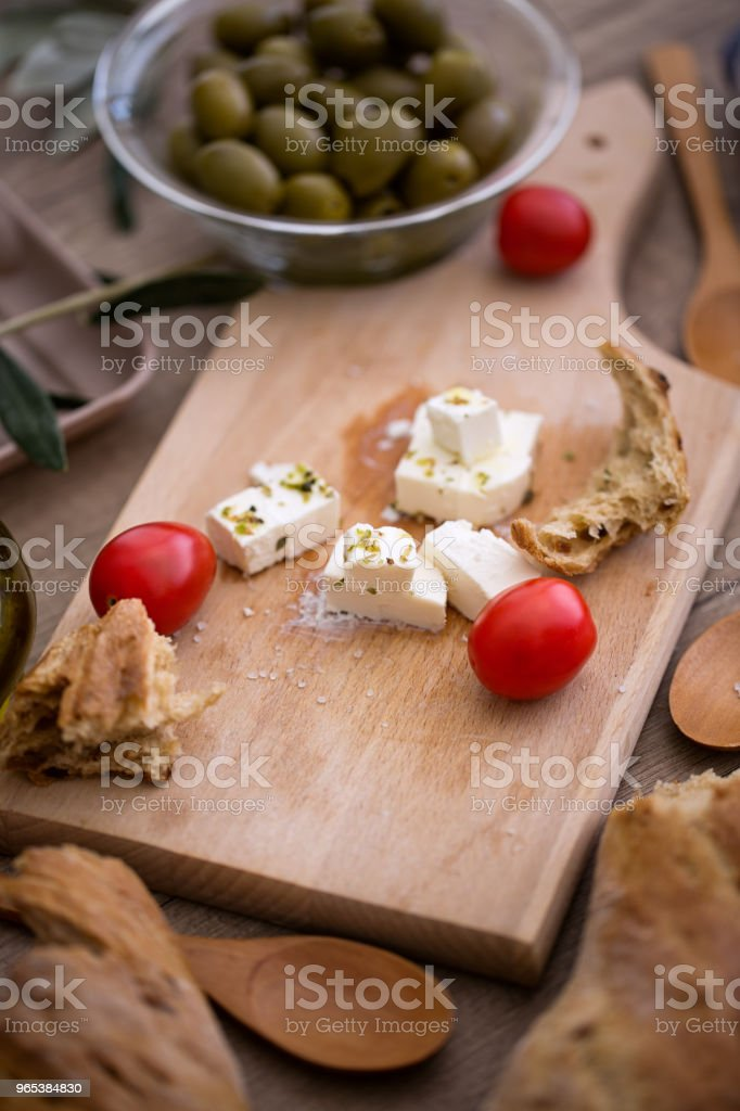 Greek salad with fresh vegetables, feta cheese and green olives royalty-free stock photo
