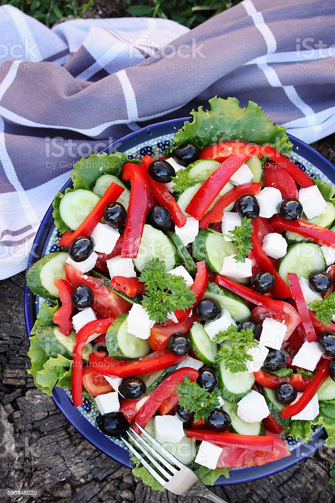 Greek salad with olives royalty-free stock photo