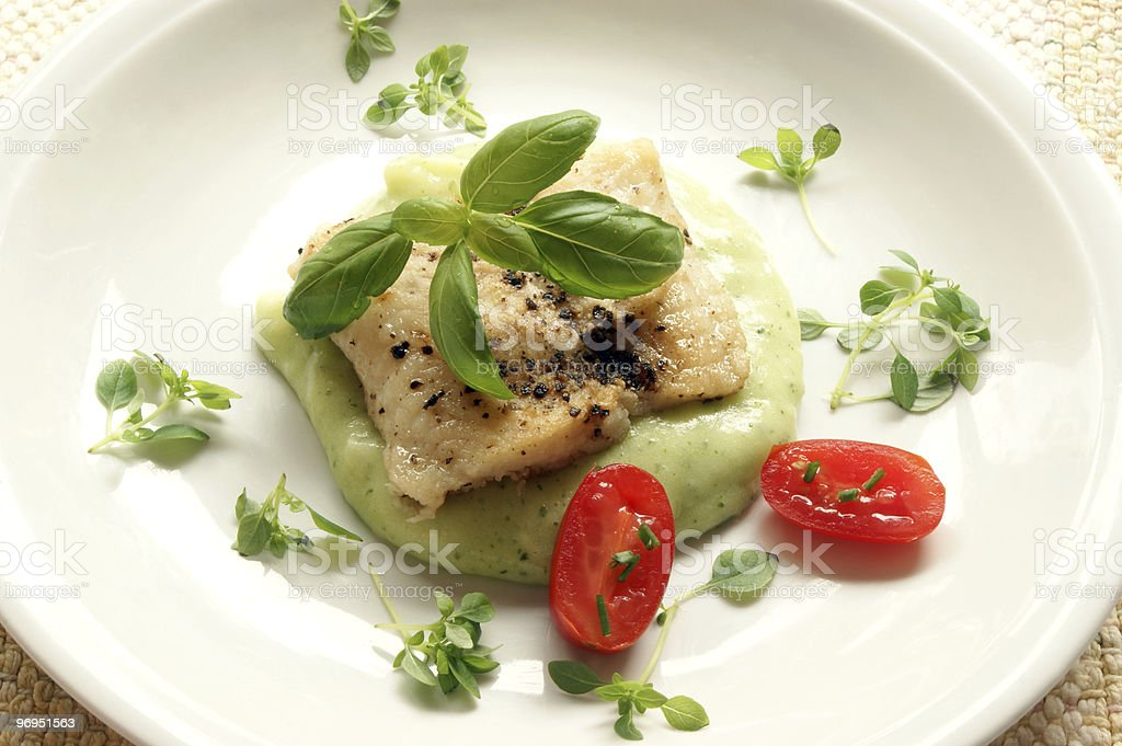 greek sea bream fillet with mashed potatoes and basil royalty-free stock photo