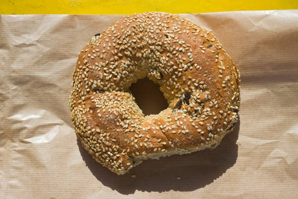 Greek sesame bread ring with raisin, the Koulouri is popular street food in Greece stock photo