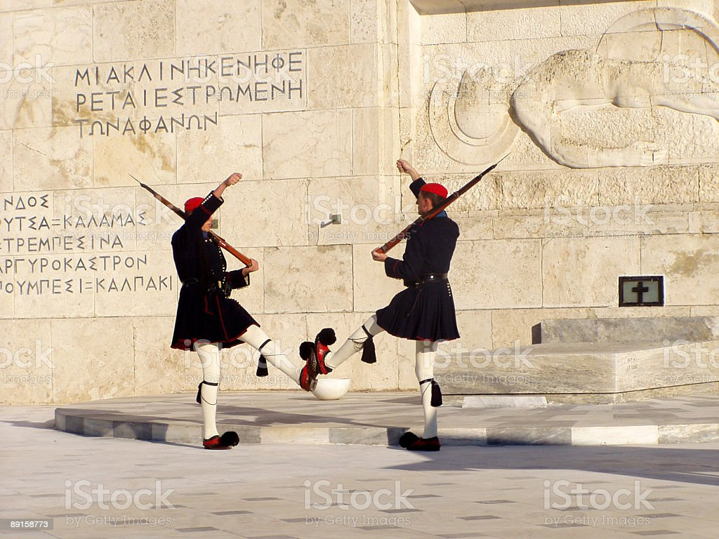 Greek soldiers at Unknown soldier monument royalty-free stock photo