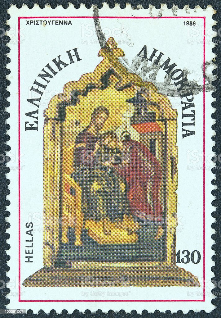 Greek stamp shows a hagiography (1986) royalty-free stock photo