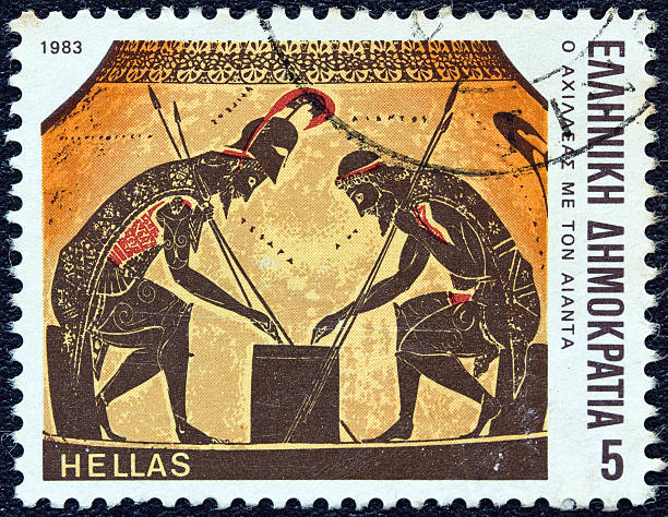 Greek stamp shows Achilles throwing dice with Ajax (1983) stock photo