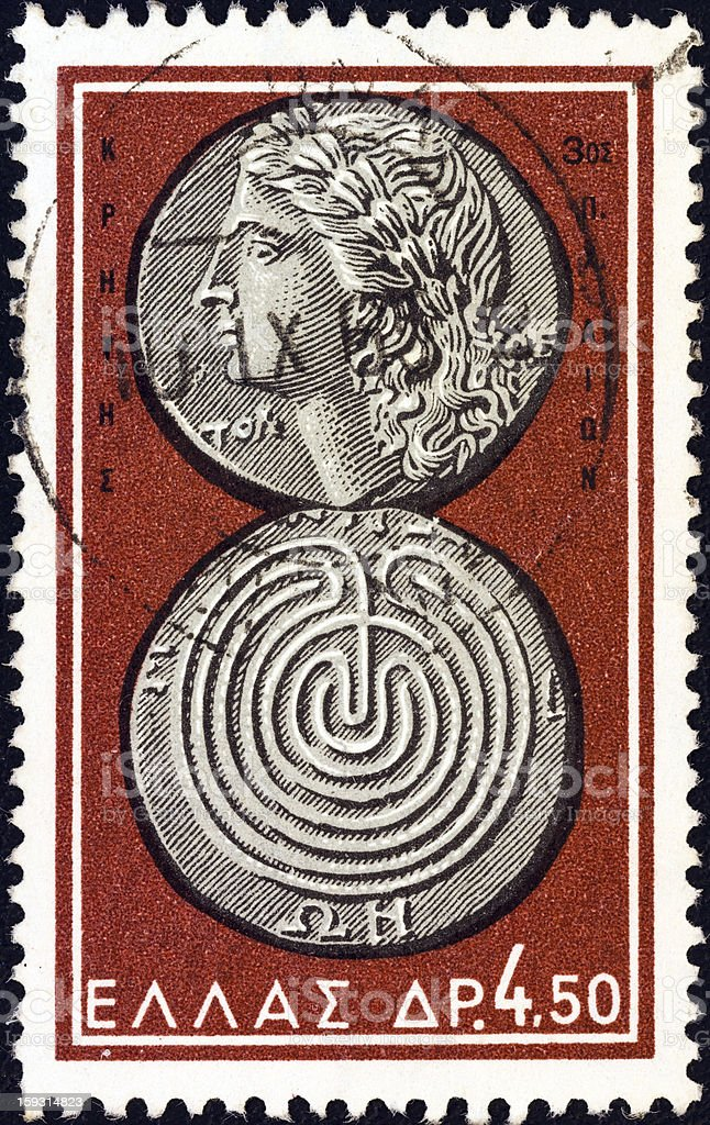 Greek stamp shows coin from Crete (Apollo and labyrinth) (1963) stock photo