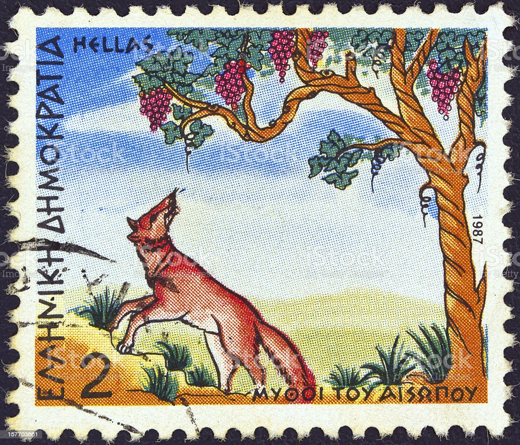 Greek stamp shows 'Fox and the Grapes' (1987) stock photo