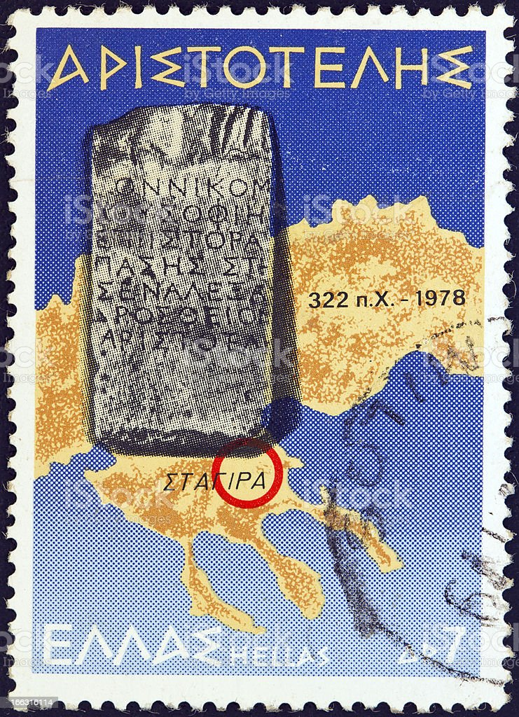 Greek stamp shows map of Halkidiki and Stagira (1978) royalty-free stock photo