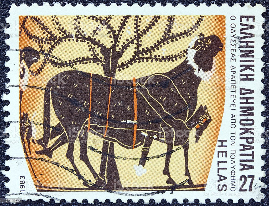 Greek stamp shows Odysseus escaping from Polyphemus's cave (1983) royalty-free stock photo