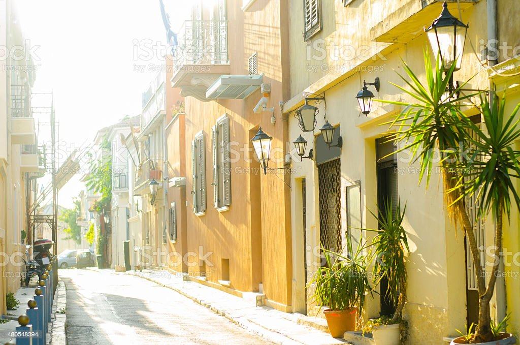 Greek street stock photo