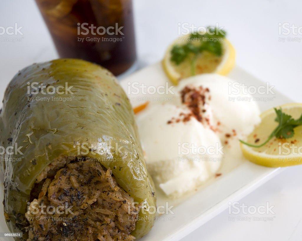 Greek Stuffed Pepper Meal royalty-free stock photo