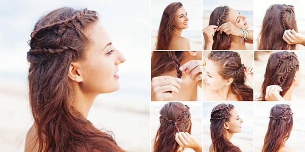 griechischen stil beach styling anleitung von beauty blogger - zopf frisuren stock-fotos und bilder