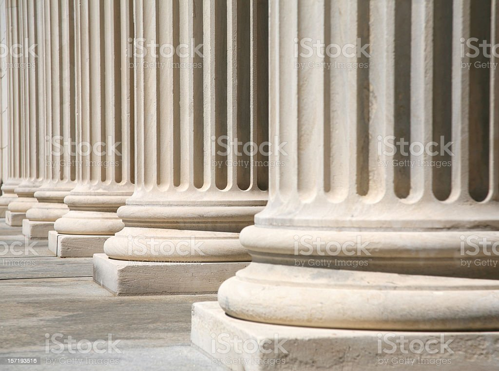 Greek style columns in front of a courthouse royalty-free stock photo